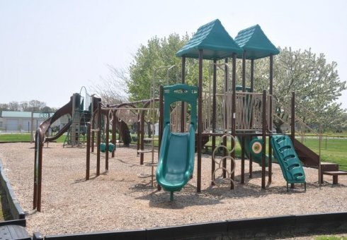green and brown playground with double slides