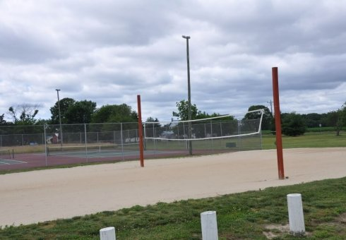volleyball court with sand